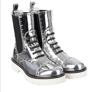 Dolce & Gabbana Silver Utility Leather Boot